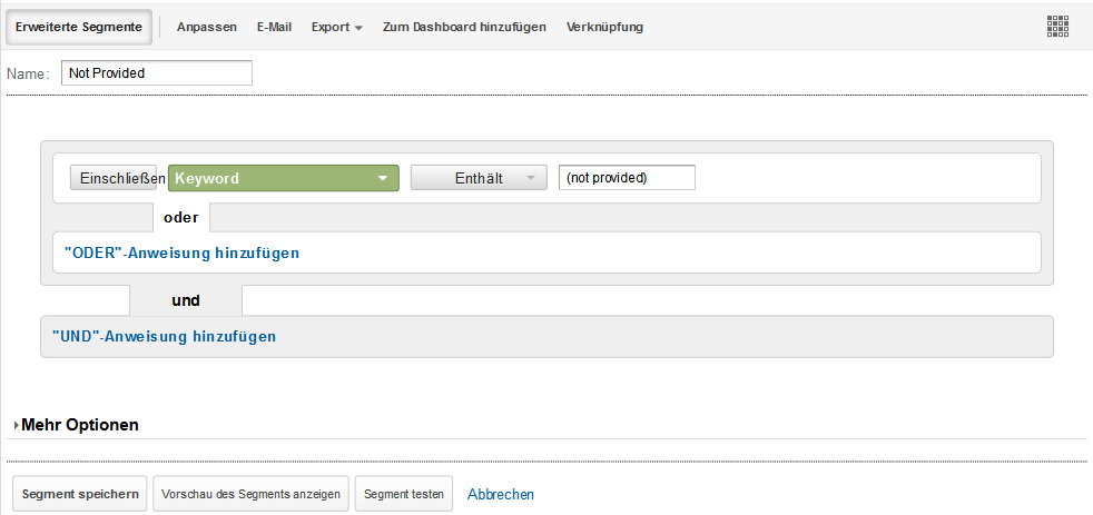 Benutzerdefiniertes Segment (not provided) Google Analytics