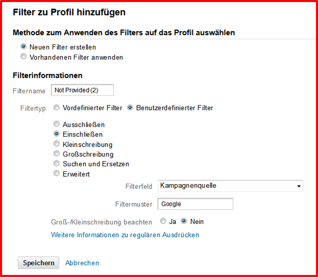 Filter: Google als Quelle - Google Analytics