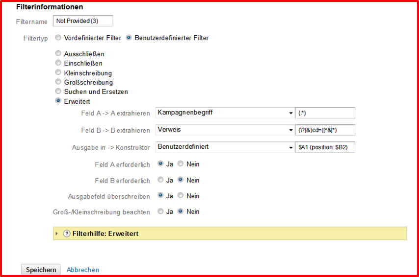 Filter: Keyword-Position aus Refferer - Google Analytics