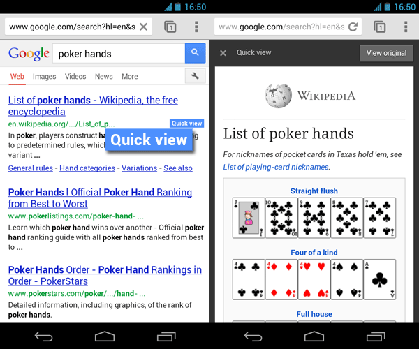 "Screenshot Beispiel QuickView Wikipedia ""Pokerhands"""