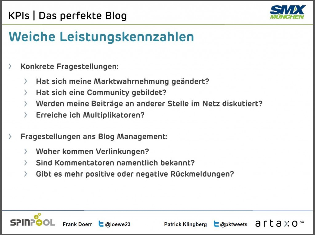 SMX - Das perfekte Blog: Weiche Leistungskennzahlen