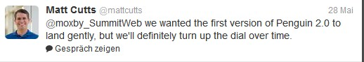 Screenshot: Matt Cutts tweetet über das Pinguin-Update