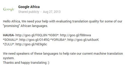 Google Translate bittet um Unterstützung