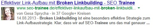 Snippet mit Authorship Markup