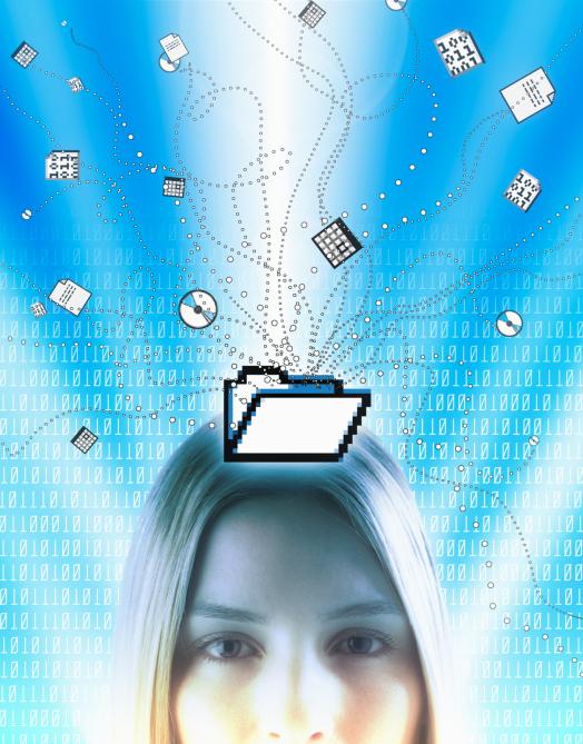 Frau mit virtuellen Gegenständen