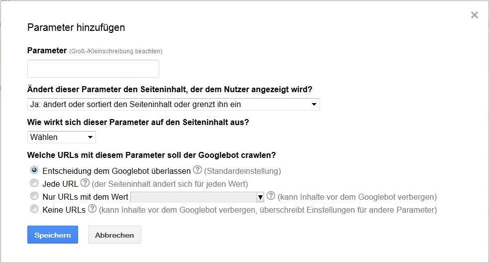 Google Webmaster Parameter