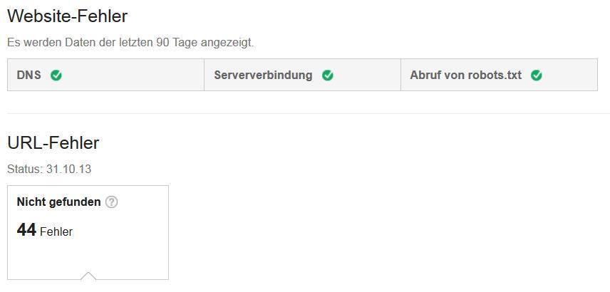 Google Webmaster Tools Crawling-Fehler