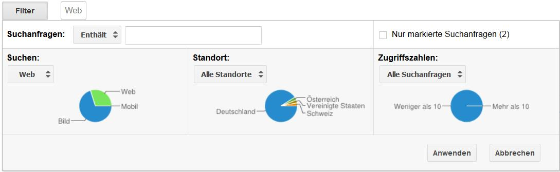 Google Webmaster Tools Filter Suchanfragen