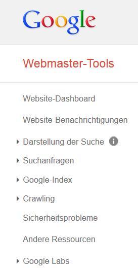 Google Webmaster Tools Menü