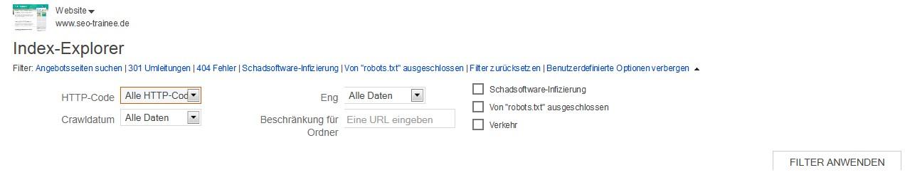 Der Index-Explorer der Bing Webmaster Tools
