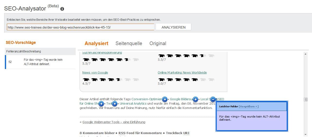 Der SEO-Analysator der Bing Webmaster Tools