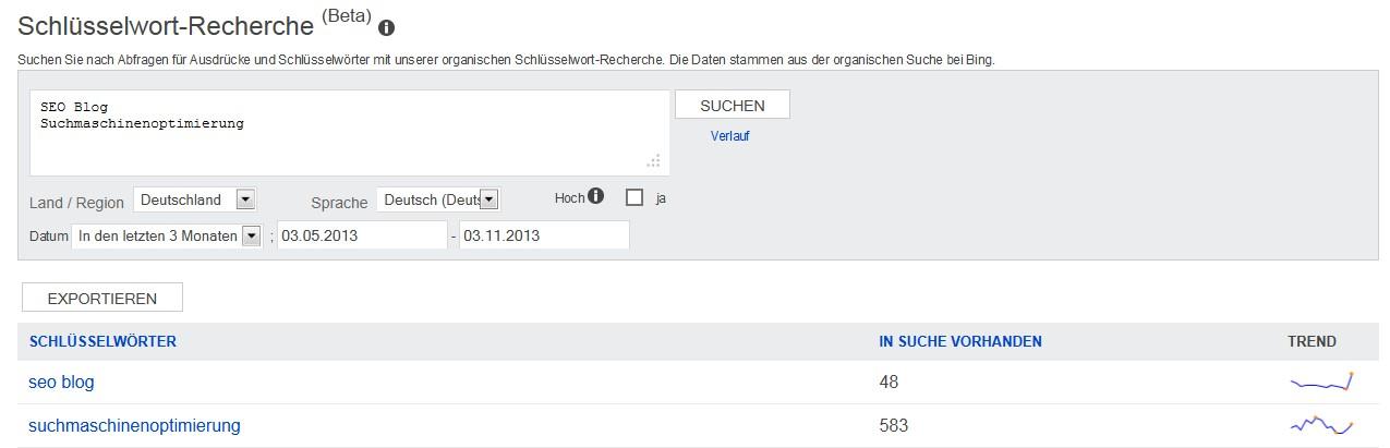 Schlüsselwort-Recherche-Tool der Bing Webmaster Tools