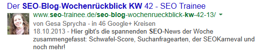 Authorship Markup im Snippet von SEO-Trainee.de