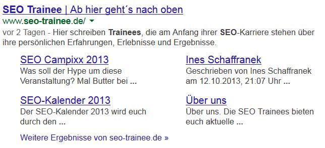 Sitelinks für seo trainee.de