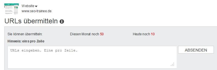 In den Bing Webmaster Tools gibt es ein Funktion, um neue URLs zu übermitteln
