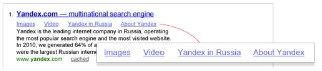 Yandex quicklinks