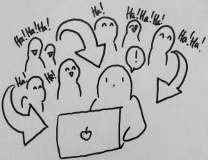 comic figur sitzt vor laptop und figuren im hintergrund sind amüsiert. pfeile verdeutlichen, dass diese reaktion mit aufgenommen wird.