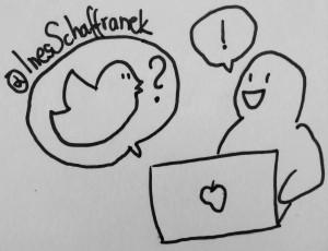 comic figur sitzt am laptop und spricht mit dem vogel von twitter
