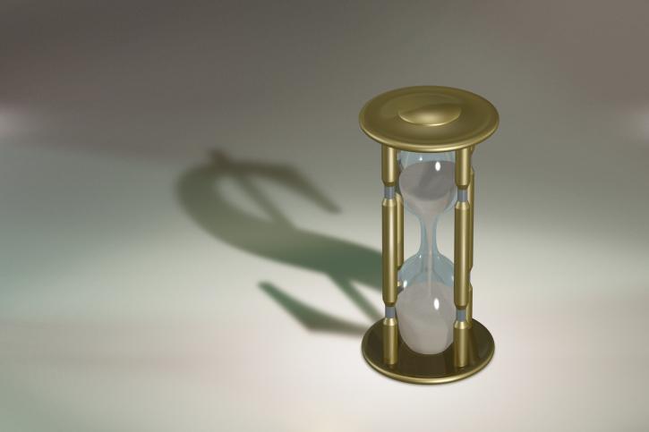 Sanduhr, Uhr, Zeit ist Geld