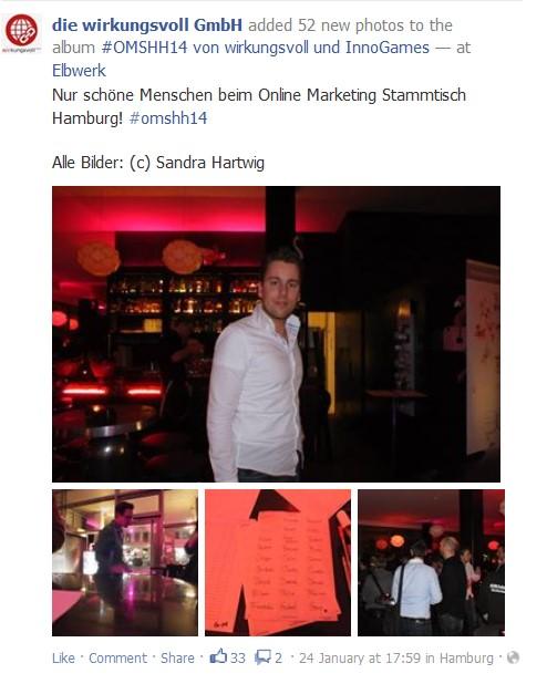 Screenshot von Facebook zum omshh14