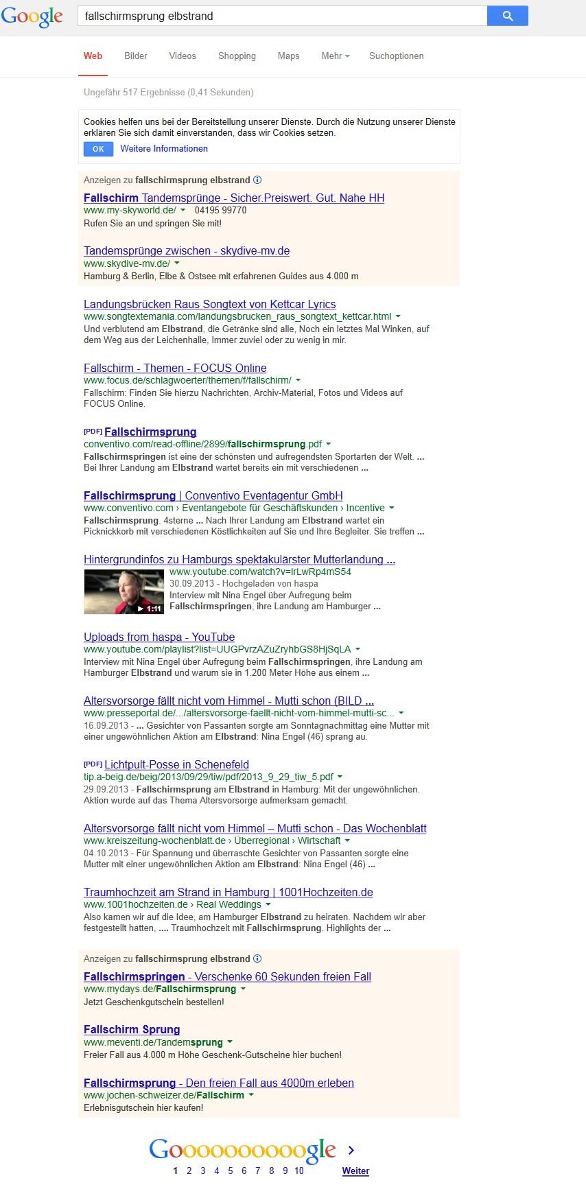 Google Suche Fallschirmsprung Elbstrand