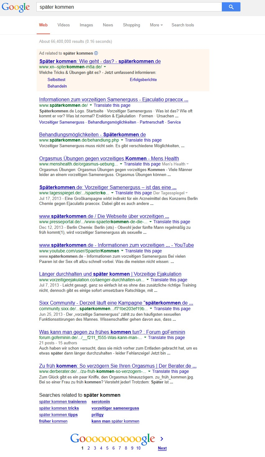 Google-Suche später kommen