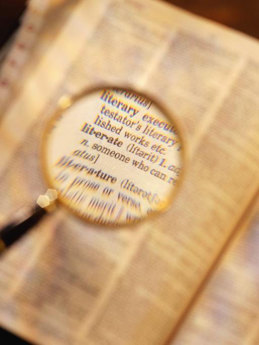 Wörterbuch mit Lupe