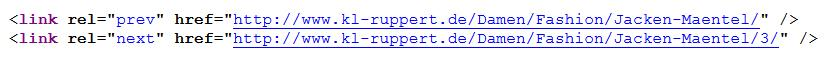 Beispiel für rel=next rel=prev im Quellcode
