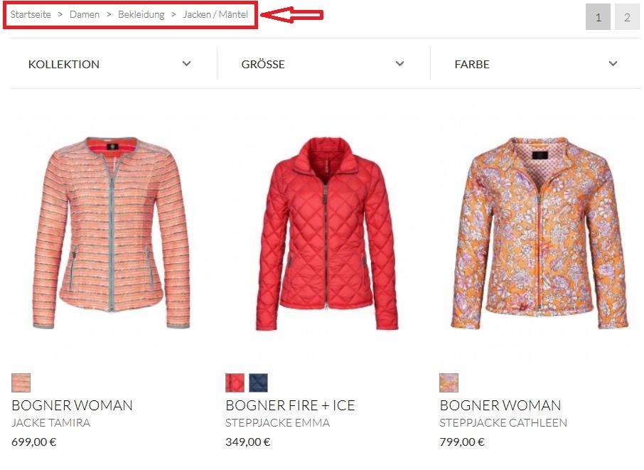 beispiel für kategorieseite online shop