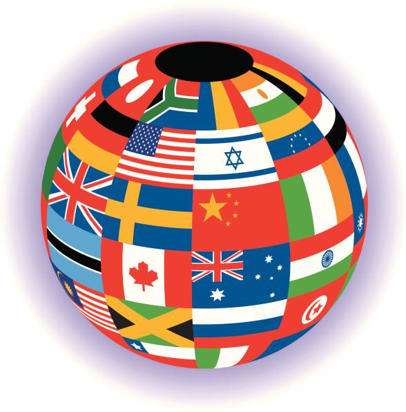 Weltkugel mit Oberfläche aus Länderflaggen