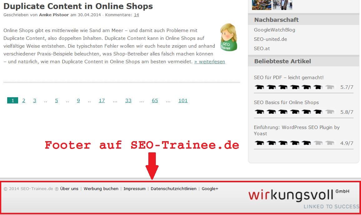Footer von SEO-Trainee.de