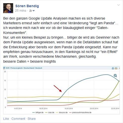 Beitrag von Sören Bendig auf Facebook