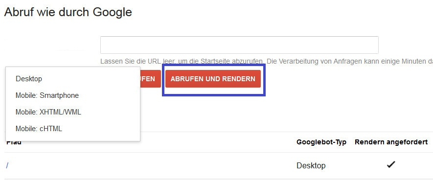 Screenshot: Abruf wie durch Google in den Webmaster Tools