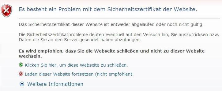 Browserwarnung für ein ungültiges Sicherheitszertifikat