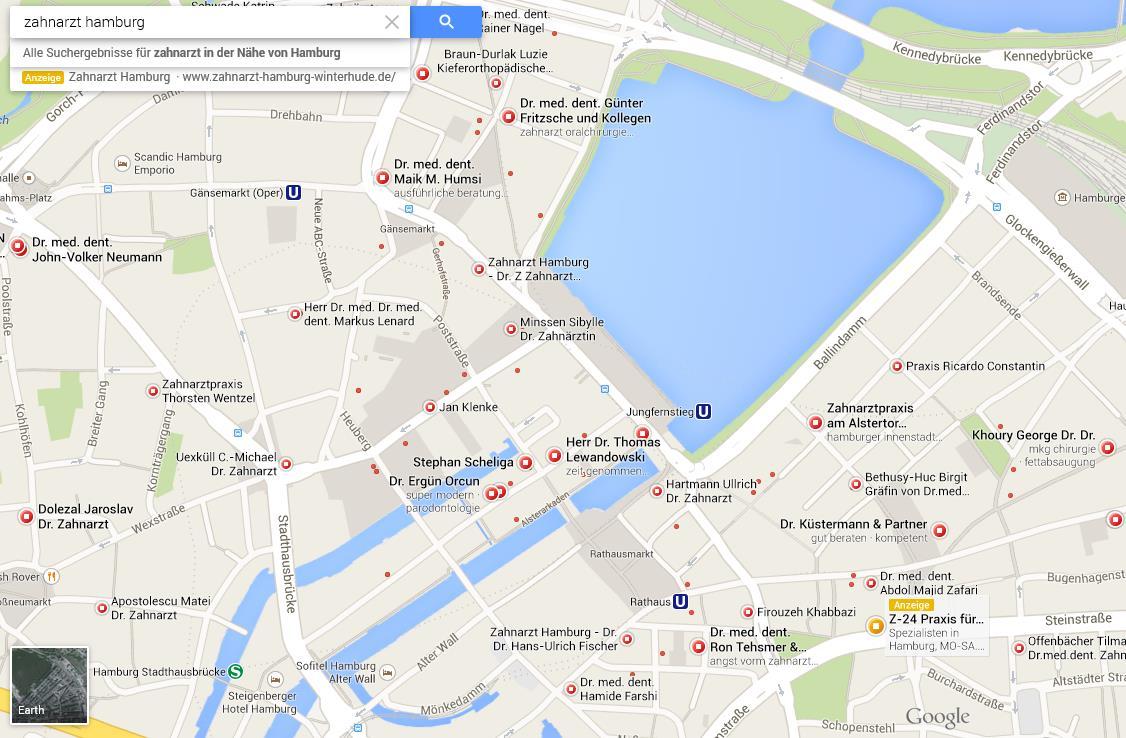 Google Map Zahnarzt Hamburg