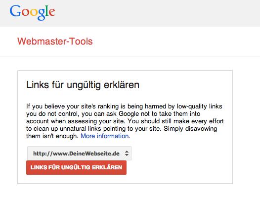 Google Webmaster Tools Links ungültig erklären