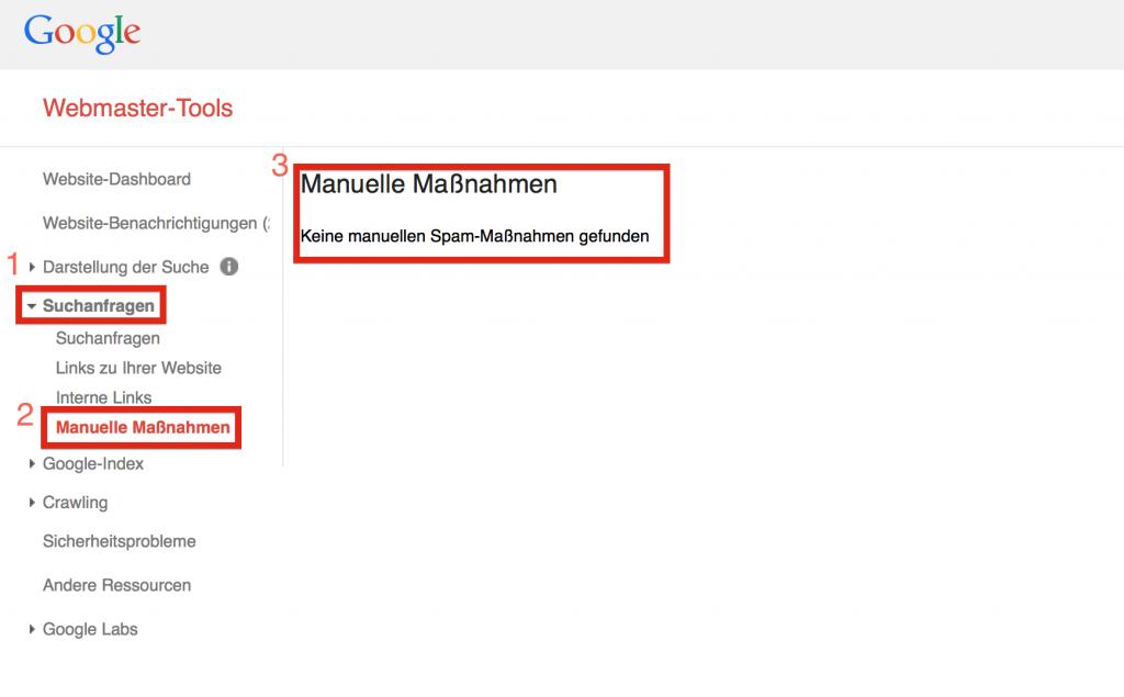 Manuelle Maßnahme in den Google Webmaster Tools