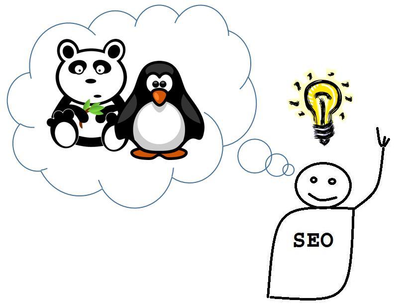 SEO mit Gedankenblase mit Panda und Pinguin