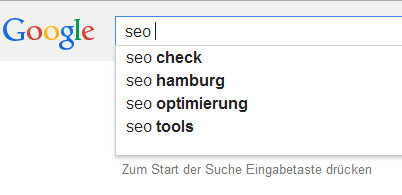 Screenshot von Google Suggest