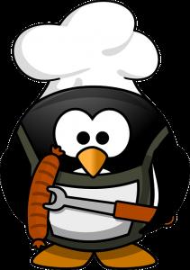 Der Pinguin grillt für den guten Zweck