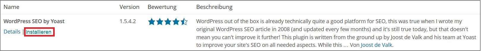Wordpress Yoast installieren