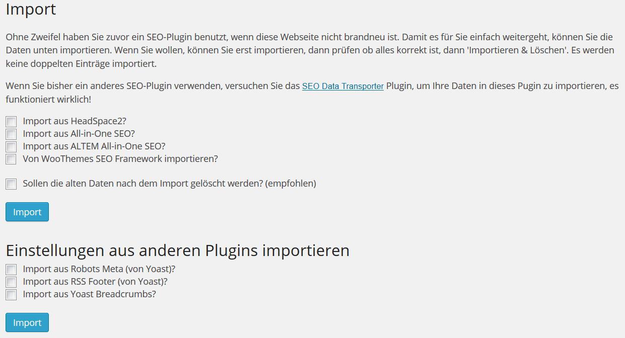 Wordpress SEO Daten importieren