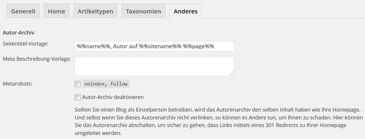 Wordpress SEO Anderes