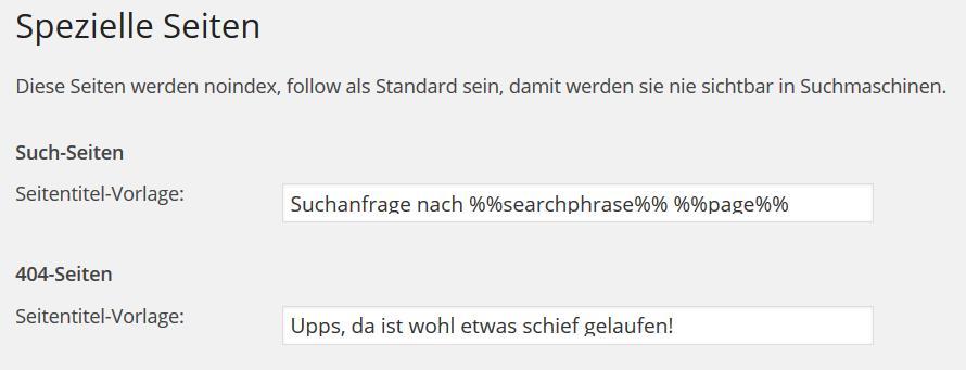 Wordpress SEO Spezielle Seiten