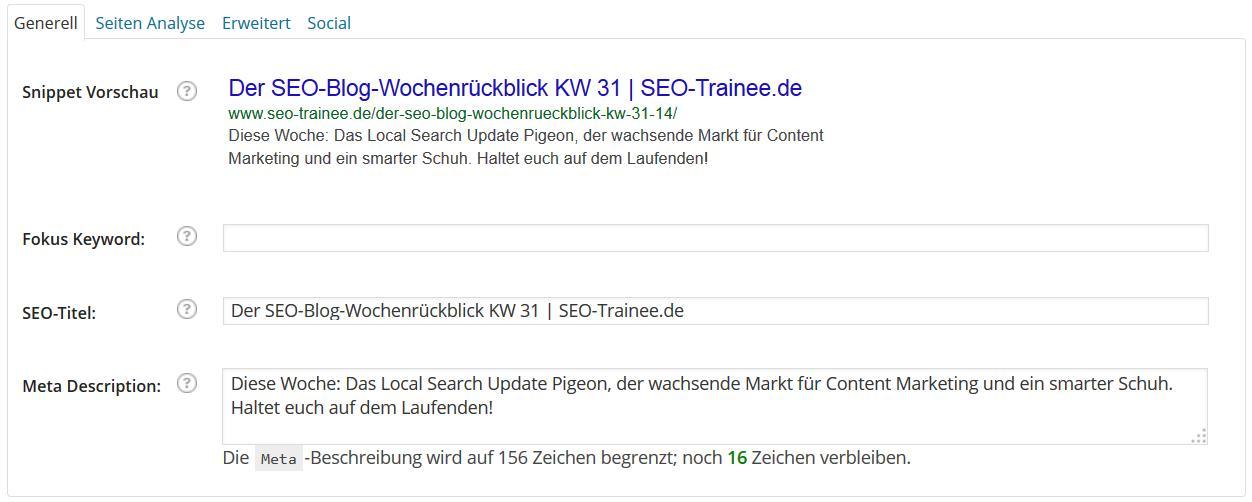 Wordpress SEO Box