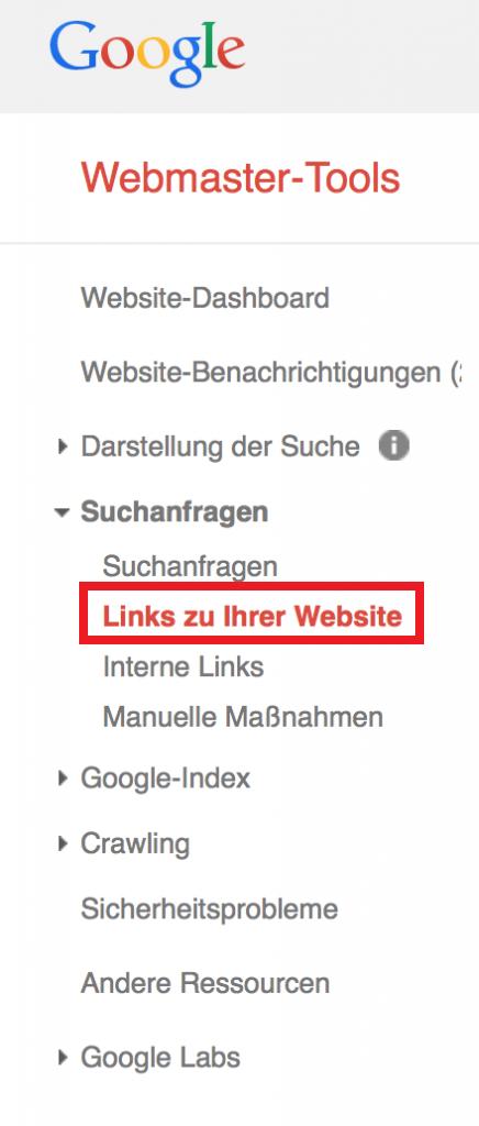 Links-die-auf-die-eigene-Webseite-zeigen-Google-Webmaster-Tools