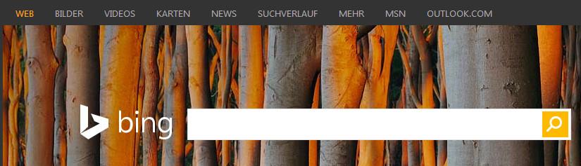 Suchmaske von Bing