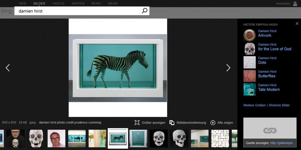 Darstellung der Modern Image Search bei Bing