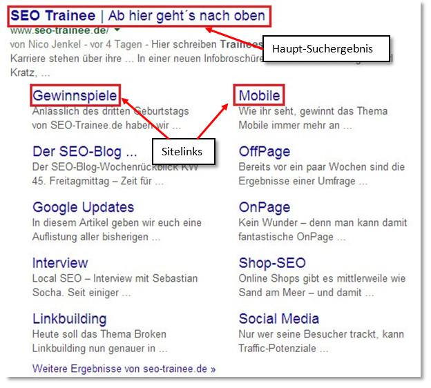 Darstellung der Sitelinks für seo-trainee.de