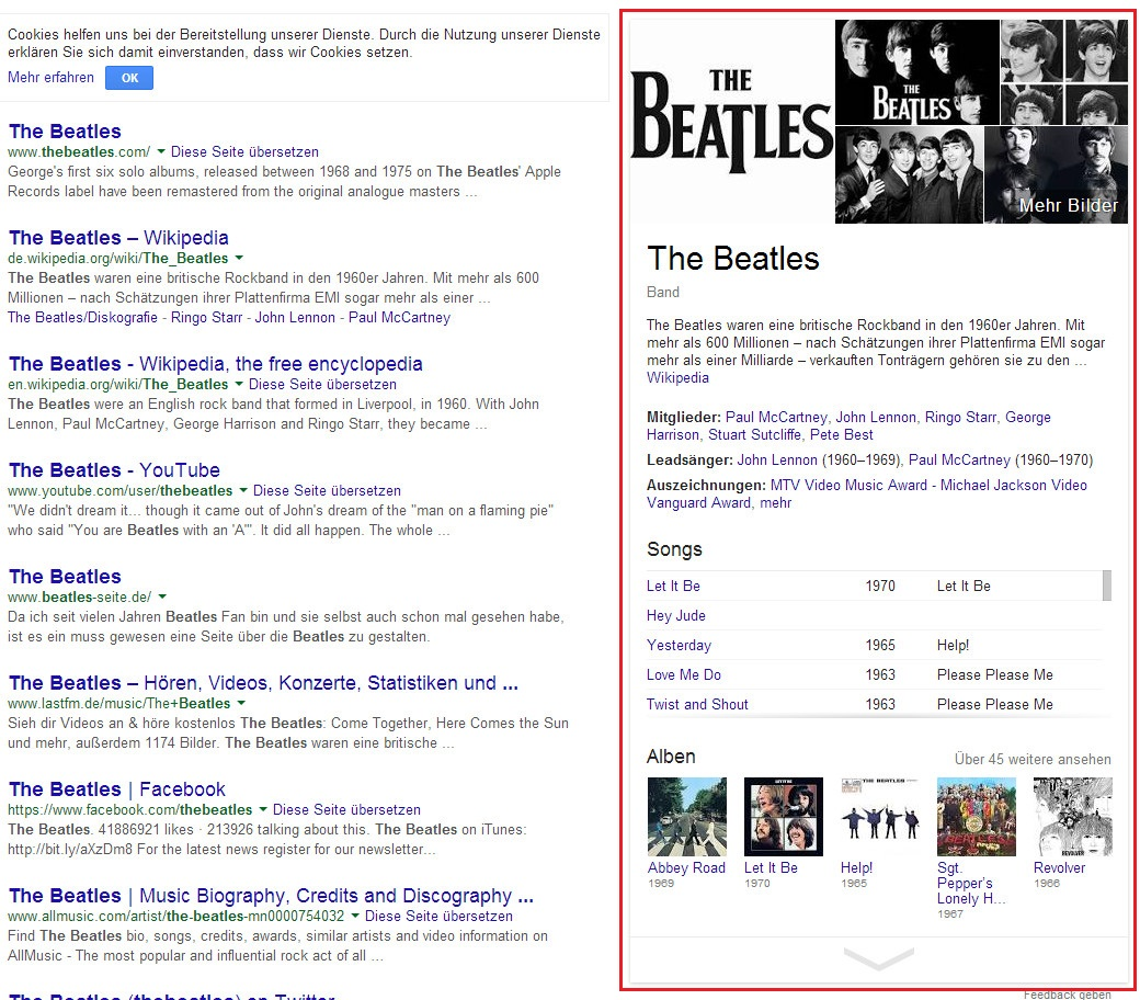 "Darstellung des Knowledge Graph für die Suchanfrage ""the beatles"""